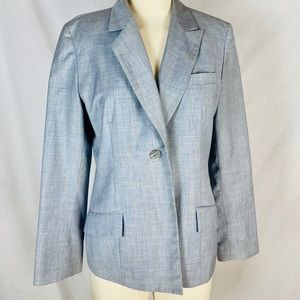 Kasper Blazer Light Blue Gray Pattern One Button